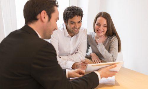 Woman man advisor office house investment